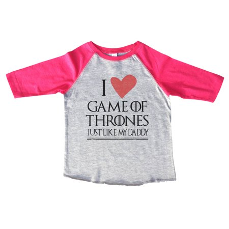 "Kids Game Of Thrones 3/4 Sleeves ""I Love Game Of Thrones Just Like My Daddy"" Toddler Baseball Tee Toddler 3T, Pink"