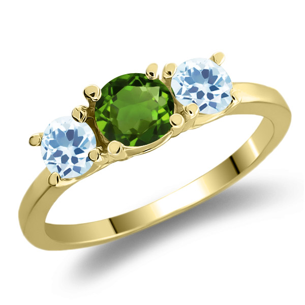 1.16 Ct Green Chrome Diopside Sky Blue Topaz 925 Yellow Gold Plated Silver Ring