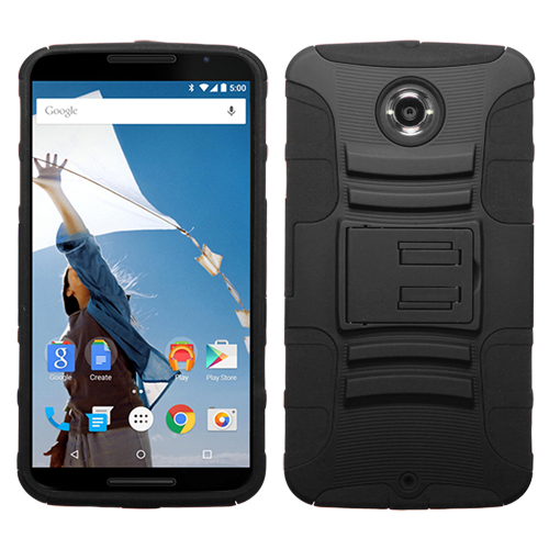 For XT1103 Nexus 6 Black/Black Advanced Armor Stand Protector Cover