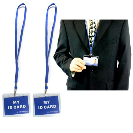 2 Pc ID Name Badge Card Holder Vinyl Clear Case Blue Lanyard Horizontal License (Id Card Holder Lanyard)