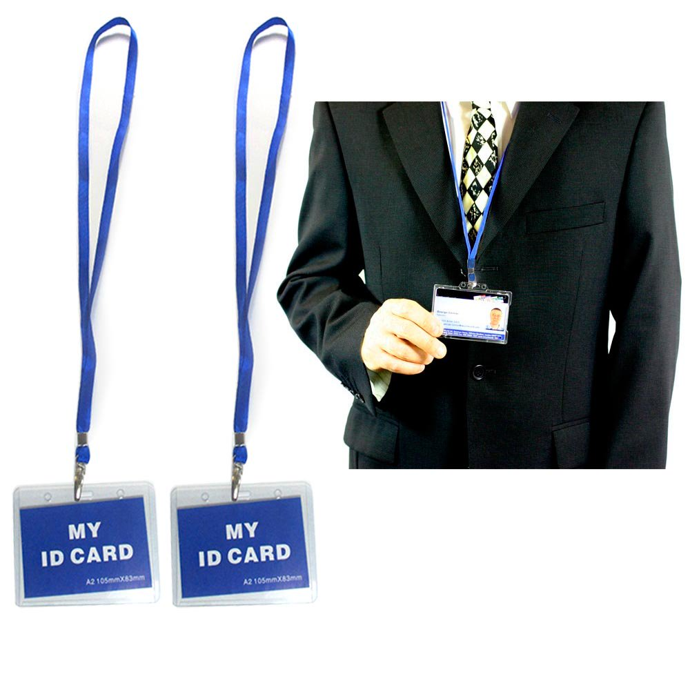 2 pc id name badge card holder vinyl clear case blue