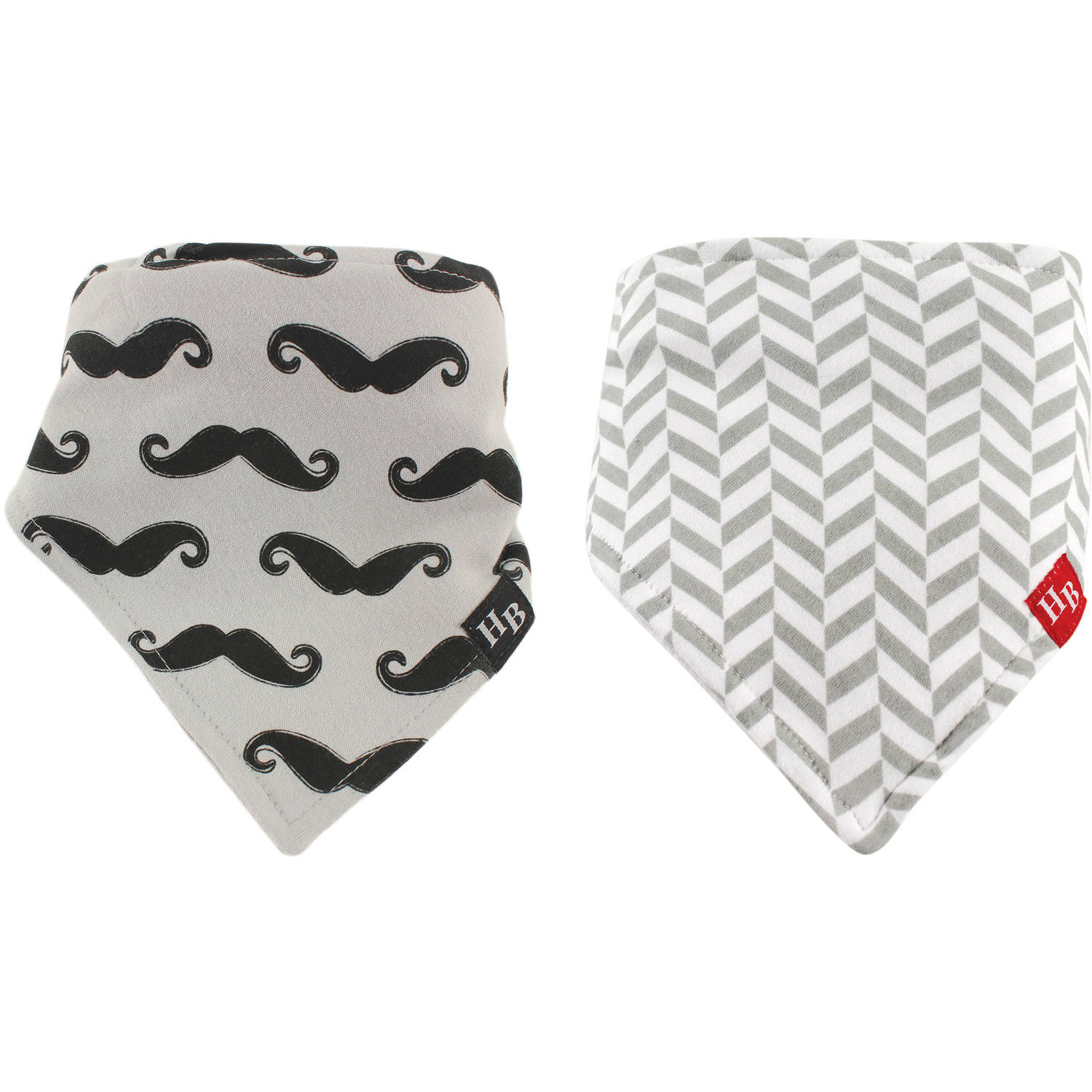 Hudson Baby Bandana Bib with Teether, 2pk, Mustache