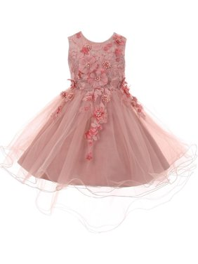 5d498fc28d Product Image Little Girls Dusty Rose 3D Floral Appliques Hi-Low Tulle  Flower Girl Dress