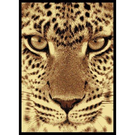 Cheetah Animal Print Rug - Designer Home Epoch Area Rugs - 910-02750 Novelty Black Leopard Cheetah Animals Nature Rug 5' 3