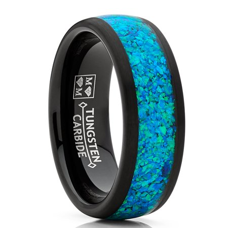 Men's Women's Black Tungsten Carbide Wedding Band Engagement Ring, Crushed Opal Inlay 8mm ()