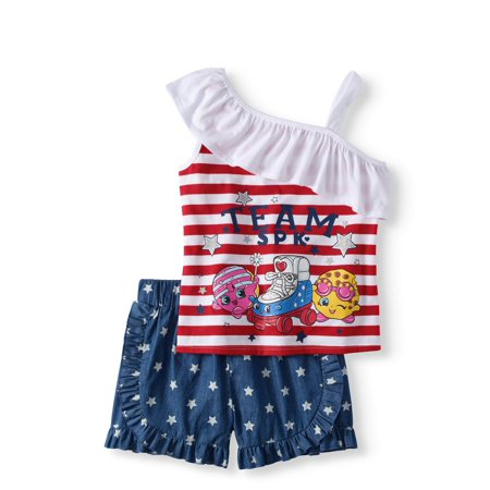 Girls' Americana One Shoulder Top And Short 2-Piece Outfit Set for $<!---->