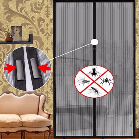 Black Summer Anti Mosquito Curtain Magnetic Curtains Automatic Closing Door Screen