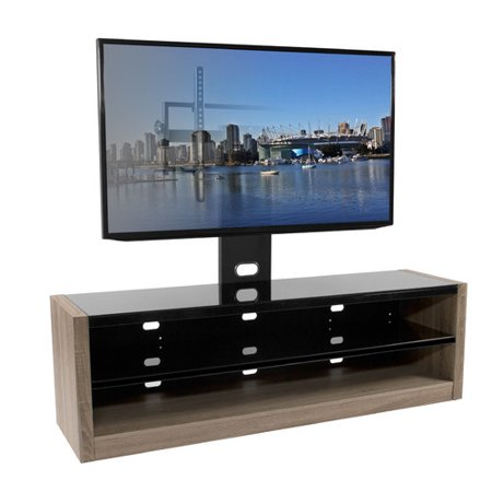 Kanto Plus TV Stand With Mount-Finish:White Oak,Size:64″Wx19.3″Dx53.5″H,Style:Modern