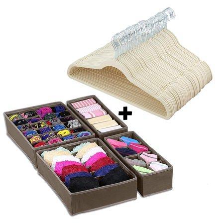 Halter Velvet Suit Hangers 50pcs with Closet Drawer Organizer - Beige
