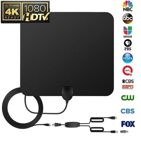 [2019 Newest] HD Antenna,HD Digital Indoor TV Antenna Version, 150 Mile Range HDTV Antenna with Amplifier Signal Booster for 1080P 4K Free TV Channels, Amplified 17ft Coax