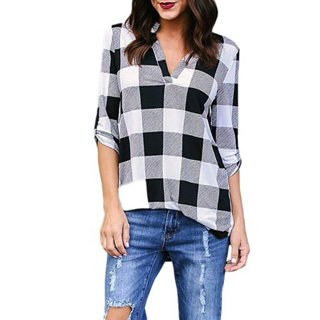 2/3 Sleeve Plaid Pullover Shirts Tops for