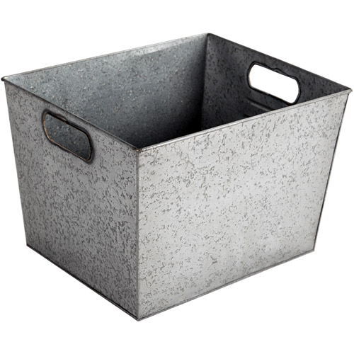 Better Homes and Gardens Large Galvanized Bin, Silver