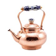 2 Qt. Solid Copper Hammered Tea Kettle w/Ceramic Knob/Handle