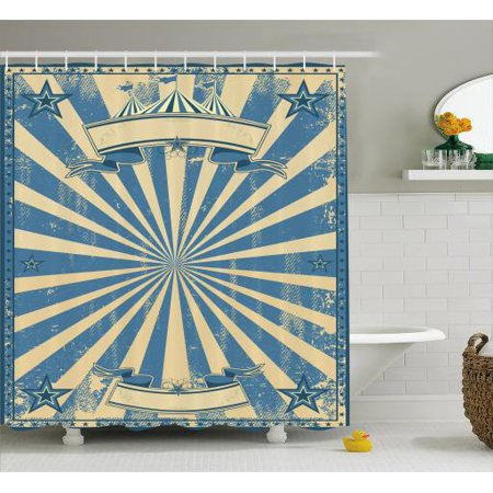 Vintage Blue Shower Curtain Carnival Show Themed Rustic Retro Circus Tent Figure With Starry Frame