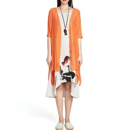 Womens Cardigans on Clearance Slub Buttons Irregular Hem Long Kimono