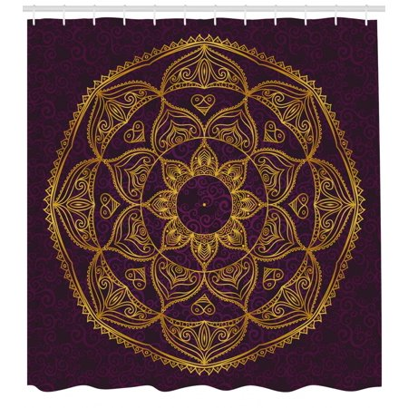 - Mandala Shower Curtain, Circular Mandala Design Eastern Old Fashioned Nature Inspired Traditional, Fabric Bathroom Set with Hooks, Purple Earth Yellow, by Ambesonne