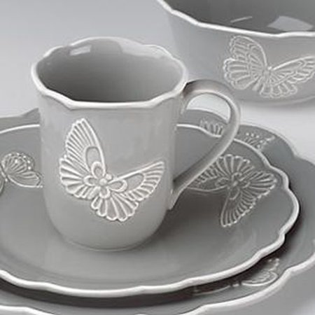 Butterfly Dinnerware - Lenox Butterfly Meadow Carved Dw Slate 4 Piece Place Setting