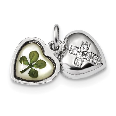 Silver Plated Shell - 925 Sterling Silver Platinum Plate Leaf Clover Epoxy Sea Shell Mermaid Nautical Jewelry Cubic Zirconia Cz Heart Pendant Charm Necklace Good Luck Italian Horn Love Multiple Gifts For