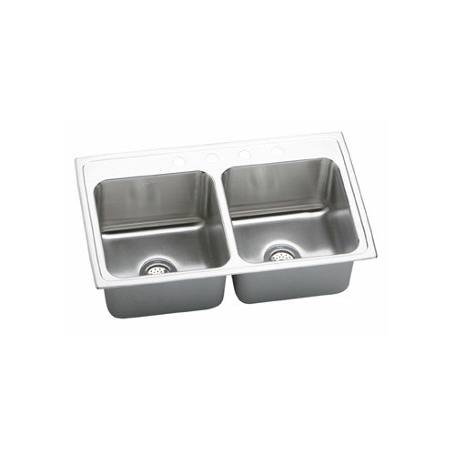 Elkay DLRQ3319104 Gourmet Lustertone Stainless Steel Double Bowl Top Mount Quick-Clip Sink with 4 Faucet Holes