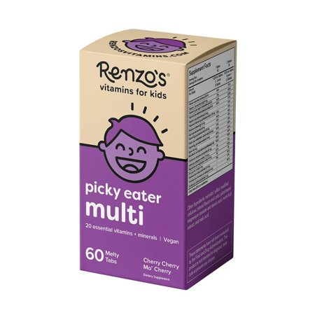 Renzo's Picky Eater Multi, Dissolvable Vegan Vitamins for Kids, Zero Sugar, Cherry Cherry Mo' Cherry Flavor, 60 Melty Tabs (Sugar Plum Tab)