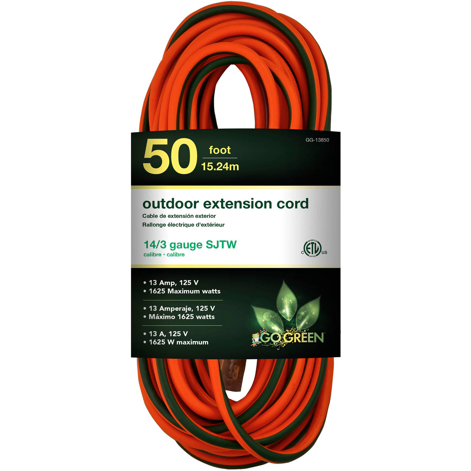 GoGreen Power 14/3 50' 13850 Heavy-Duty Extension Cord, Lighted End