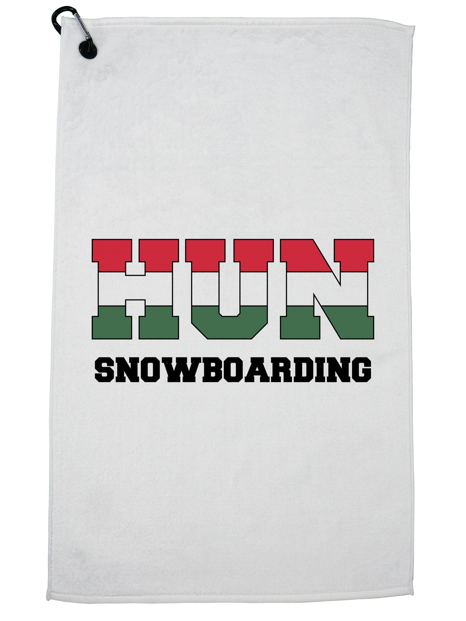 Hungarian Snowboarding Winter Olympic HUN Flag Golf Towel with Carabiner Clip by Hollywood Thread