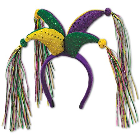 Club Pack of 12 Green Purple and Yellow Mardi Gras Jester Headband Costume Party Accessories - Mardigra Costume