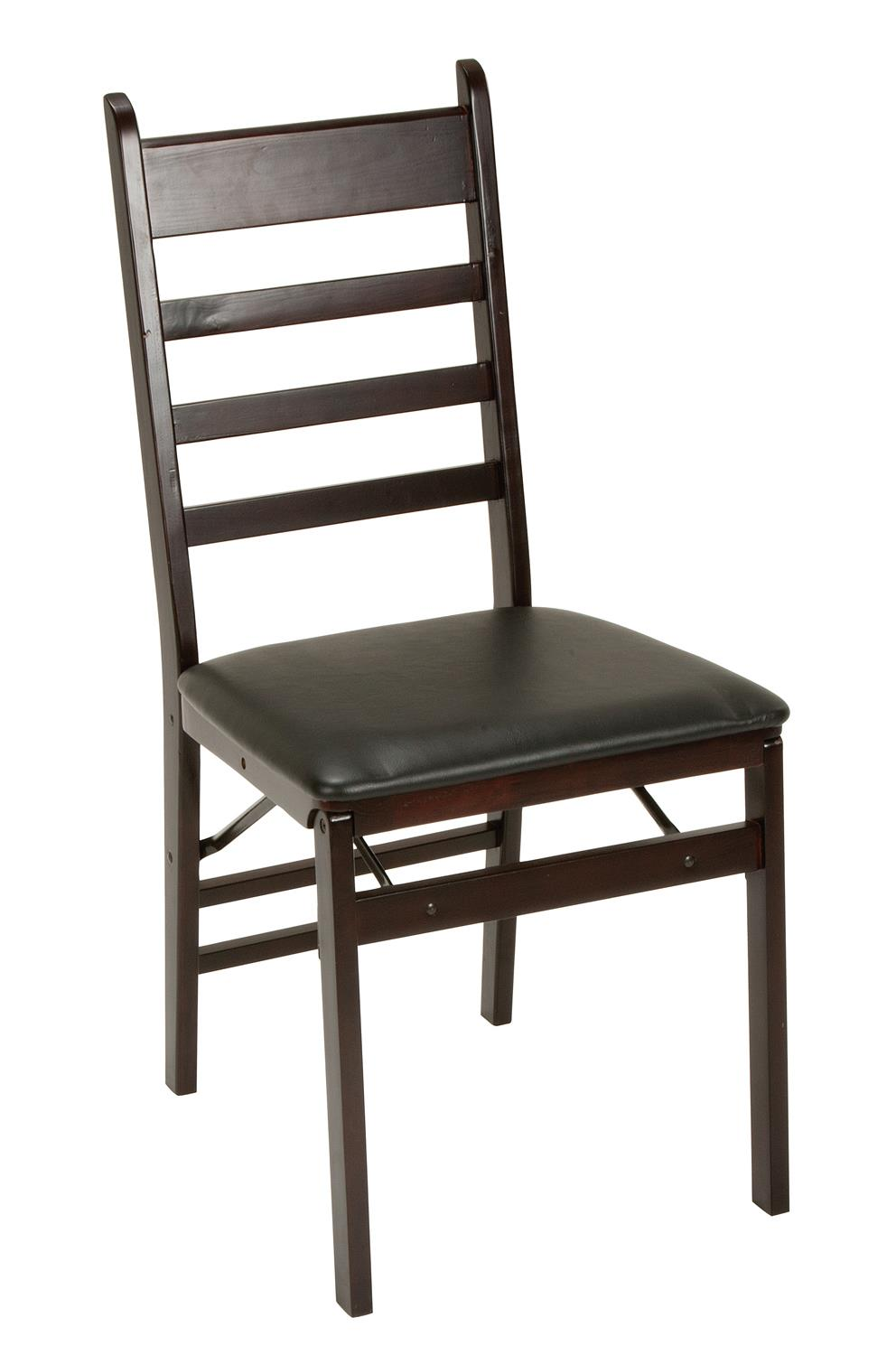 Cosco Ladder Back Wood Folding Chair, Espresso/Black, Set Of 2