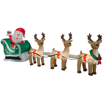 Airn Inflatable Santa Sleigh And Reindeer Scene 12 5ft Wide By Gemmy Industries