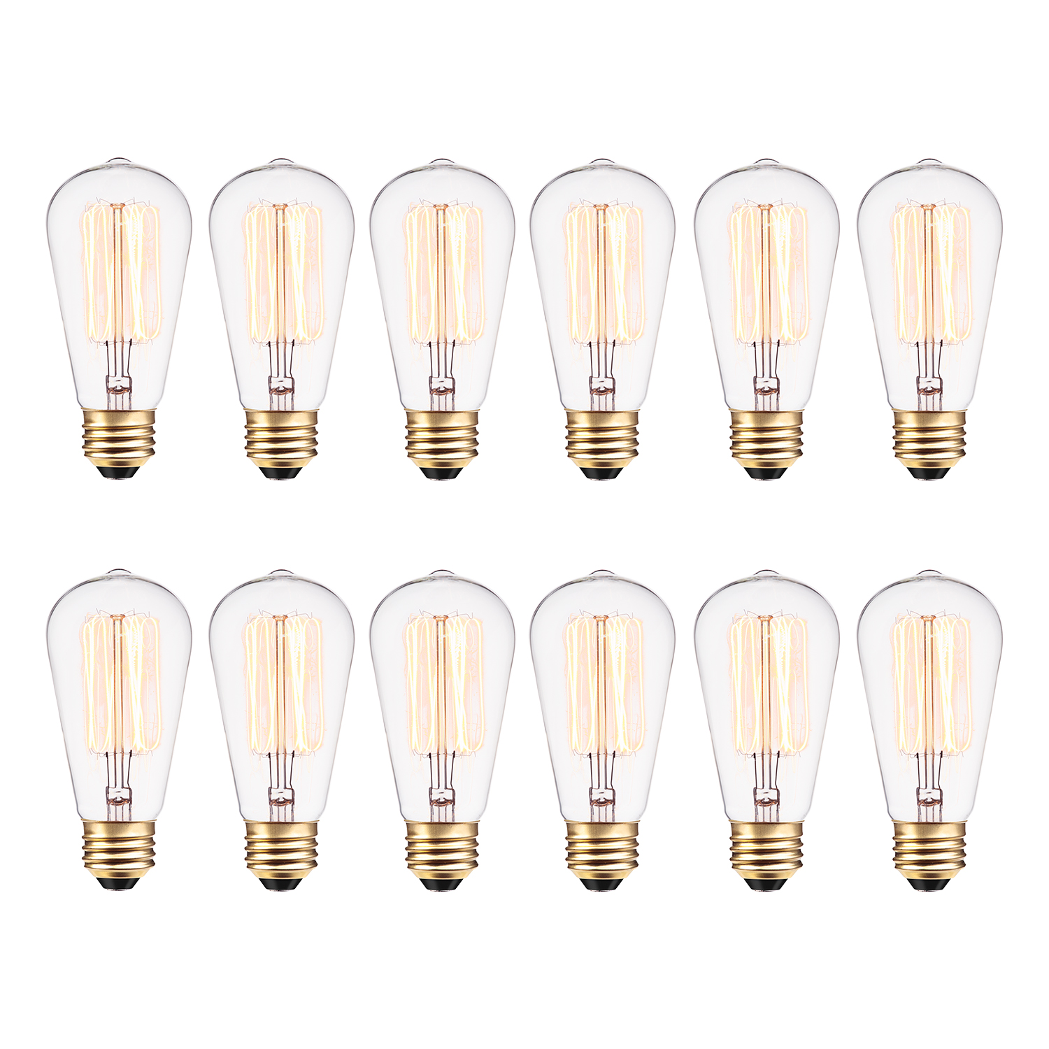 Globe Electric 40W Vintage Edison S60 Squirrel Cage Incandescent Filament Light Bulb (12-Pack), 313242
