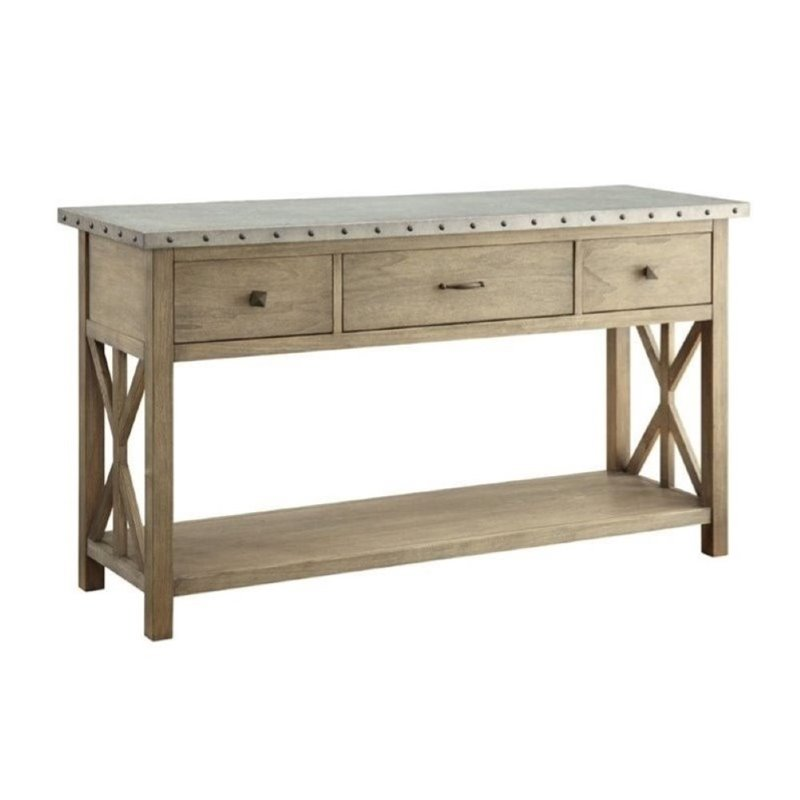 Bowery Hill Metal Top Sideboard in Driftwood
