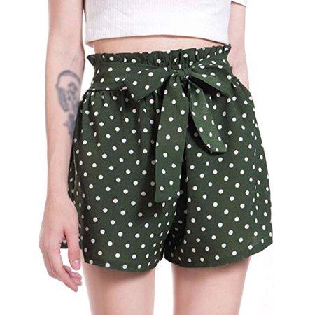 LELINTA Women's Casual Elastic Waist Polka Dot Summer Beach Shorts, Blue/ Black/ Green Color (Nike Dark Green Shorts Women)