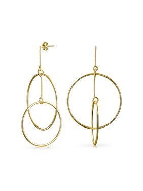 d11e964cb2d5f8 Product Image Minimalist Geometric Round Thin Two Open Circle Dangle Stud  Earrings For Women 14K Gold Plated Sterling
