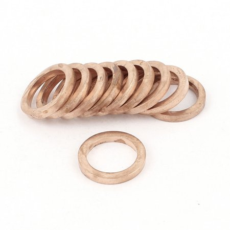 Unique Bargains 10pcs 10mmx14mmx2mm Copper Flat Washer Ring Sealing Fastener Fitting