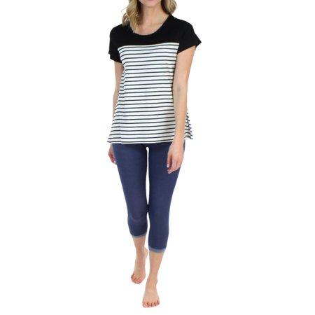 Wear Capri Leggings - Frankie & Johnny Women's Sleepwear Short Sleeve Tee and Soft Denim Capri Leggings Pajama Set
