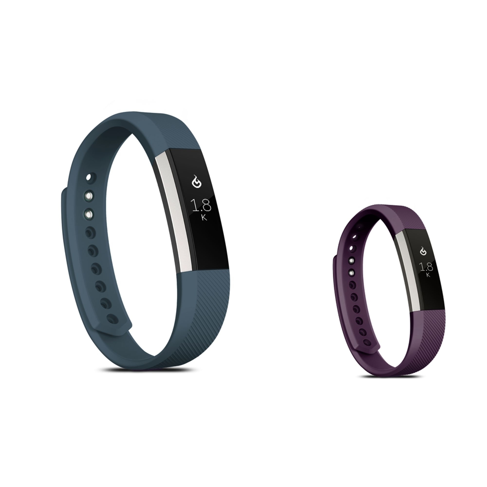 Zodaca Soft TPU Rubber Adjustable Wristbands Watch Band Strap For Fitbit Alta HR / Alta LARGE Size - Dark Gray + Purple