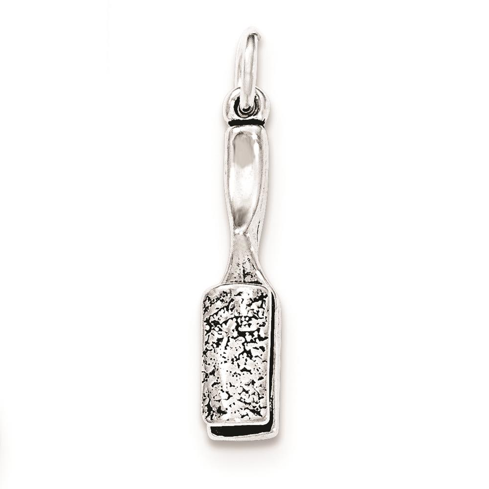 925 Sterling Silver Antiqued Hair Brush Polished 3-D Charm Pendant