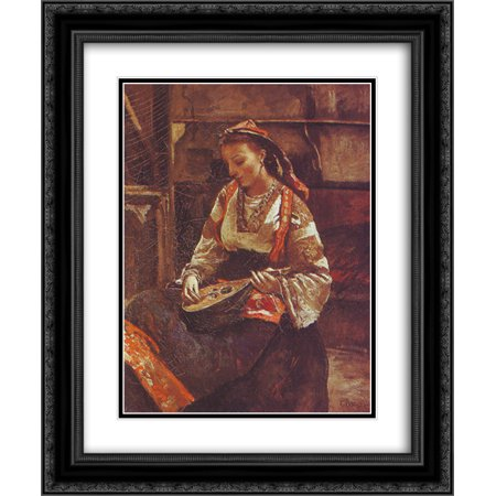 Camille Corot 2x Matted 20x24 Black Ornate Framed Art Print 'Italian Woman Sitting and Playing the