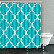 ARTJIA Moroccan Quatrefoil Crisp Turquoise Aqua Bathroom Shower Curtain 66x72 inches