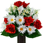 Sympathy Silks Artificial Cemetery Flowers - Realistic - Outdoor Grave Decorations - Non-Bleed Colors, and Easy Fit -White Calla Lily & Daisy with Red Rose Bouquet