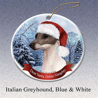 Holiday Pet Gifts Italian Greyhound, Blue and White Santa Hat Dog Porcelain Christmas Tree Ornament Blue Santa Ornament