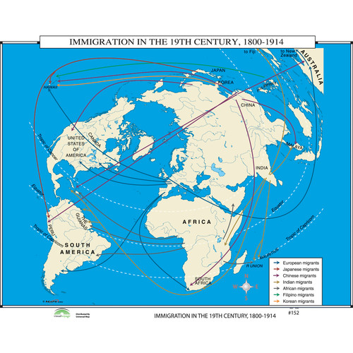 Map Of The World In 1800.Universal Map World History Wall Maps Immigration In 19th Century