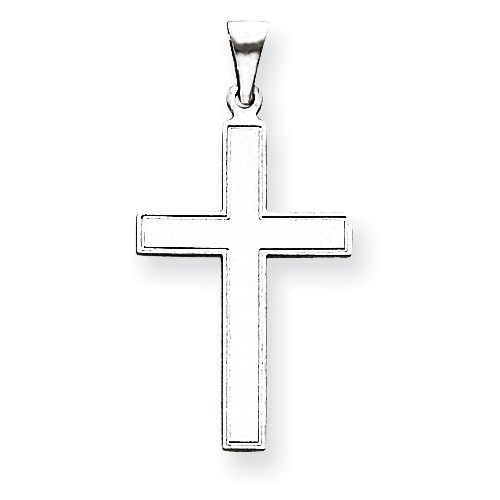 14k White Gold Latin Cross Pendant