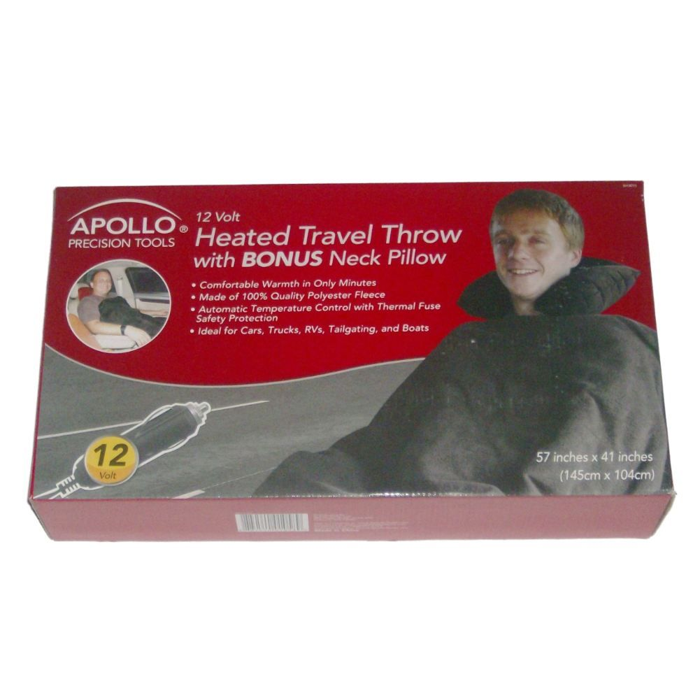 Apollo Heated 12 Volt Travel Throw Blanket With Pillow Warming Blanket by