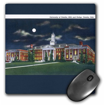 3dRose Vintage Postcard of the University of Omaha, Omaha, Nebraska, Mouse Pad, 8 by 8 inches - Post Office Hours Omaha
