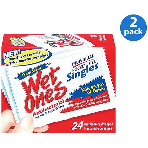 Wet Ones Antibacterial Singles 24 ct (Pack of 2)