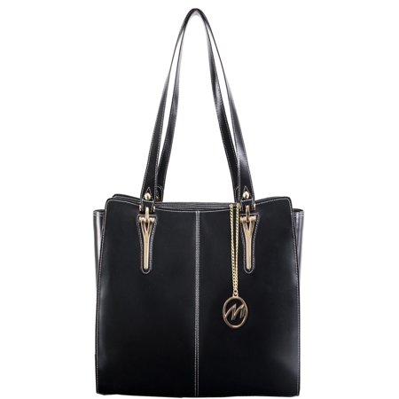 McKlein GLENNA, Ladies' Tote with Tablet Pocket, Top Grain Cowhide Leather, Black (97555) - Leather Pocket Tote