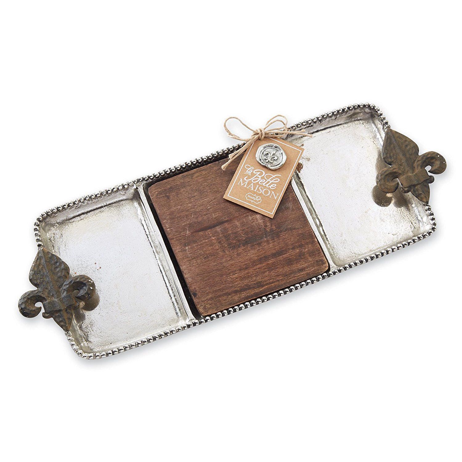 Fleur De Lis Section Tray, Silver, Constructed from metal and mango wood By Mud Pie