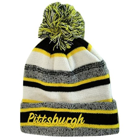Pittsburgh 4-Color Embroidered Adult Size Thick Winter Knit Pom Beanie Hat (Gold Script)