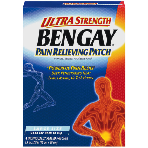 Ultra Strength Bengay Pain Relief Patch, 3.9 x 7.9 in, 4 Count
